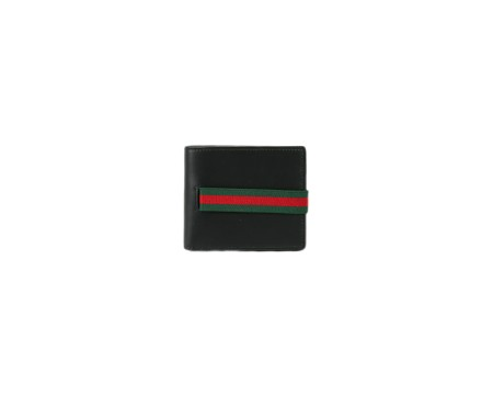 Shop GUCCI  Wallet: Gucci black leather wallet. Closing with green and red elastic web. One compartment for cash and eight for credit cards. Size: width: 11cm; height: 9cm. Made in Italy.. 406474 AP0XN-1060