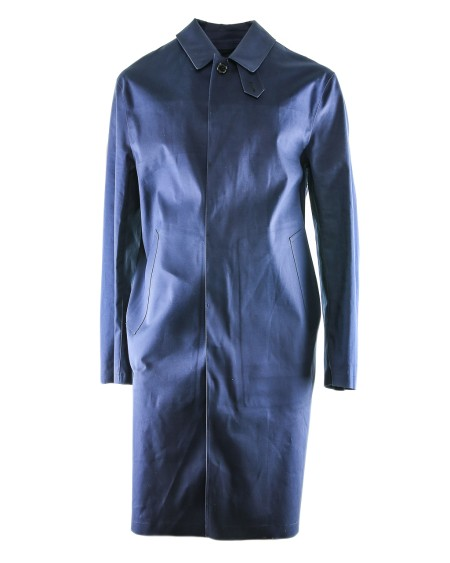 Shop MACKINTOSH Sales Overcoat: Mackintosh long blue waterproof coat with two lateral pockets. 6102 IDID GR001-N