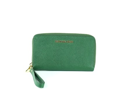Shop MICHAEL KORS  Wallet: Michael Michael Kors green wallet. Closing with zip. Strap that makes the wallet wearable as a pochette. Compartments for credit cards. Pocket for smartphone.. 32H4GTVE9LJET SET TRA-309
