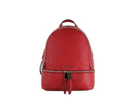 Shop MICHAEL KORS  Backpack: Michael Kors Rhea red backpack. Closing with zip. Frontal pocket with zip. Horizontal zip in front. Leather handle and double stap on the backside.. 30S5GEZB1LRHEAZIP-204