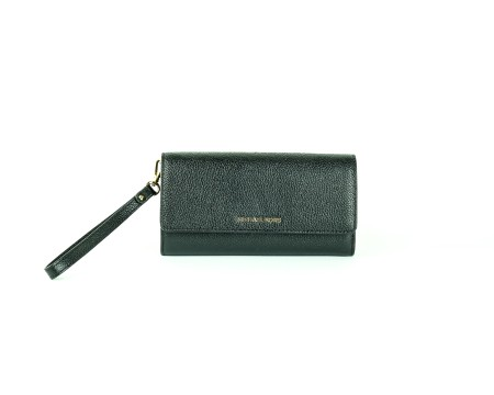 Shop MICHAEL KORS  Wallet: Michael Michael Kors Mercer black wallet. Closing with button. Compartment for cash and credit cards. Pocket with zip for coins. Strap that makes the wallet wearable as a pochette.. 32S7GM9W3L-001