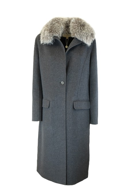 Shop MICHAEL KORS Sales Overcoat: Michael Michael Kors double wool destructured grey coat. Detachable silver fox collar. Overweight flair. Front pockets with flap. Rear central slit. One button closure. Composition: 52% wool 48% polyester.. MF72HRK787-011