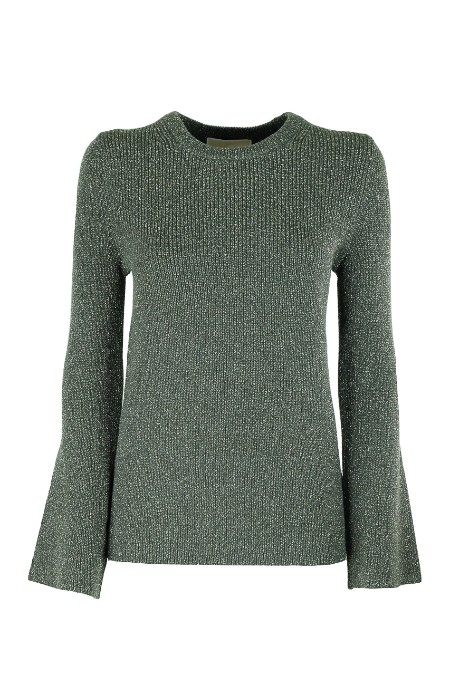 Shop MICHAEL KORS Sales Pullover: Michael Michael Kors Green round neck Sweater. Inlaid with golden lurex wire. Long sleeves, flared on the wrists. Golden logo on the back of the collar. Composition: 83% cotton 6% nylon 6% polyester 1% elastane 4% other fibers. MU76NBP4VE-345