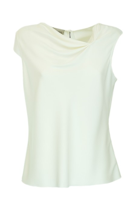 Shop ARMANI COLLEZIONI  Shirt: Armani Collezioni white silk shirt. Sleeveless. Asymmetric neckline. Composition: 94% silk 6% elastane.. ZMH12TZM312-101