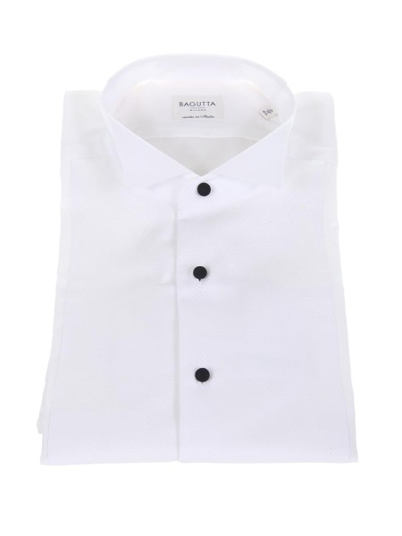 Shop BAGUTTA  Shirt: Bagutta white shirt. Double cuff. Black buttons. Diplomatic neck. Piquet texture.. BZURIGOV CN0170-001