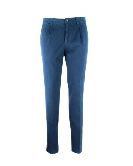 Shop BRUNELLO CUCINELLI  Pantalone: Brunello Cucinelli pantalonr in cotone blu slim fit. 98% cotone 2% elastane. Made in Italy.. M218DT1020-C2698