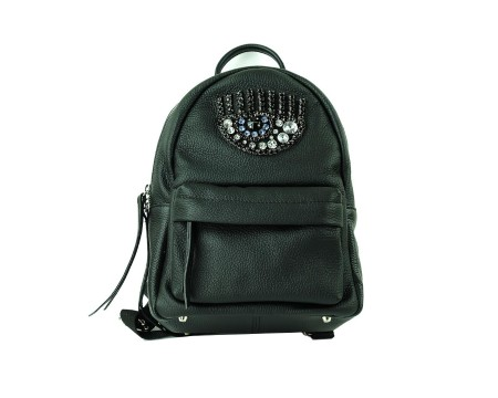 Shop CHIARA FERRAGNI  Backpack: Chiara Ferragni Black leather backpack. Application of a light blue eye wiyh stones. Frontal pocket with zip. Double strap on the back side and a handle in black leather.. CFZ024 NERO-N