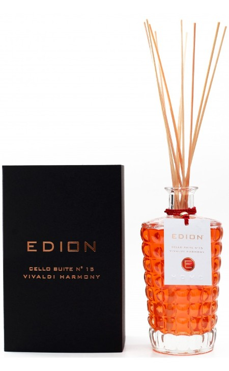 Shop EDION  Perfume: Edion perfume for environment Vivaldi Harmony cello suite 15. Spicy and green notes to introduce and emphasize a strongly flowered body of jasmine and tuberose. Head: Anise, Lilac, galbanum leaf. Heart: jasmine, tuberose. Background: Sandalwood, Amber, Vanilla, Musk. Capacity: 500 ml. Made in Italy.. CELLO SUITE N.15 VIVALDI-ML500