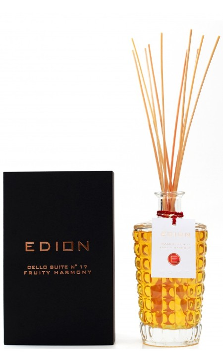Shop EDION  Perfume: Edion perfumer for the Fruit Harmany suite cello suite 17. Top notes strongly floral and fruity aromatic, end in an explosion of spicy notes made sweet and gourmand by vanilla. Head: rose, lavender, violet, eucalyptus, green note. Heart: blackcurrant, raspberry, red grapes, honey. Background: vanilla, white musk, tobacco, tonka bean. Capacity: 500 ml. Made in Italy.. CELLO SUITE N17 FRUITY-ML500
