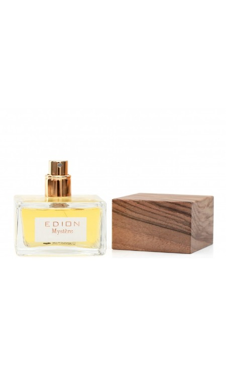 Shop EDION  Perfume: Edion eau de toilette Mysterè. Characteristics: intense aroma of spicy notes, woods and leather. Head fragrance: Grapefruit, Bergamot, Lemon, Artemisia, Red berries, Cardamom. Heart Fragrance: Clove, Guaiac Wood, Thyme, Sandalwood, Cedarwood. Base fragrance: Incense, Tolu, Vetyver, Leather, Vanilla. Beautiful design bottle finished with Italian walnut cork. Capacity: 50 ml. Made in Italy.. MYSTERE -ML50