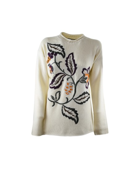 Shop ETRO  Pull: Pull Etro bianco. Ricamo floreale frontale. 45% lana 30% viscosa 25% cashmere Made in Italy.. 15625 7219-990