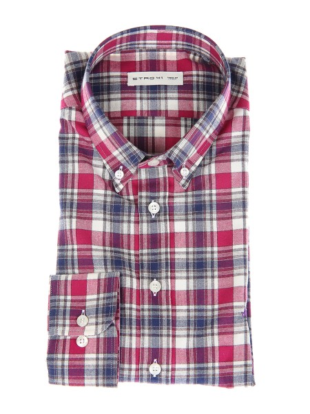 "Shop ETRO Sales Shirt: Etro checked shirt in red, white and blue with ""button down"" collar. Front logo. Cuffs with double button. Rounded background. Long sleeve. Composition: 100% cotton. Model: Mandy. Made in Italy.. 163653112-0400"