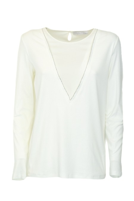 Shop FABIANA FILIPPI  T-shirt: Fabiana Filippi t shirt in jersey cotton. Round neckline. Silk satin insert. Light point on the neckline. Rear drop opening with button. Regular fit. Essential Look. Long sleeves. Composition: 95% cotton elastane 5%. Dry clean. Made in Italy.. 407TA17Y064-VR1