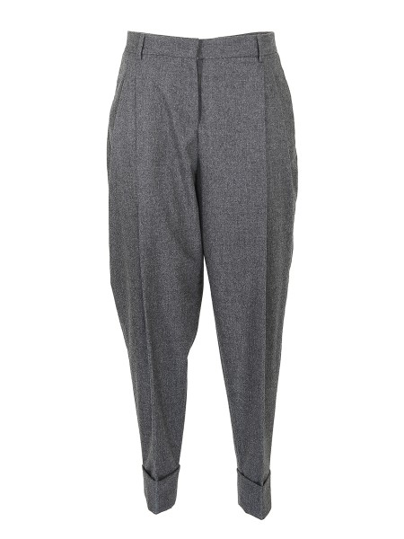 Shop FABIANA FILIPPI Sales Trousers: Fabiana Filippi gray flannel panatalone, cashmere hand. High waist. Double pences. Comfort fit. Zip and hook closure. Side and back slash pockets. Composition: 90% virgin wool, 8% cashmere, 2% elastane. Made in Italy.. PG82217V120-8081