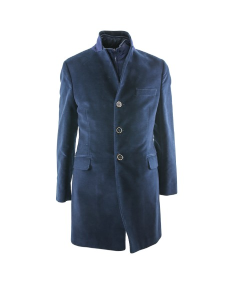 Shop FAY  Cappotto: Double coat Fay blu. Chiusura con tre bottoni. Doppia tasca con patta e taschino. Gilet rimovibile all'interno. Made in Italy.. NAM533513900NJ-U807