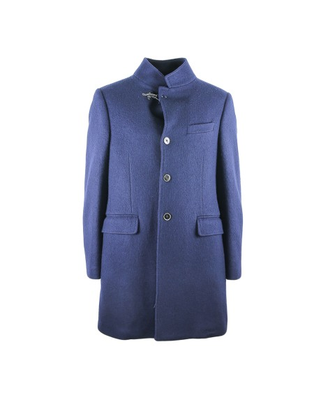 Shop FAY Sales Overcoat: Fay single-breasted blue coat. Closing with buttons and a typical hook fay on the neck. Double pocket with flap. Single breast pocket. 100% virgin wool. Made in Italy.. NAM5435061J0PH-U807