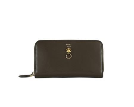 Shop FENDI Sales Wallet: Fendi Zip around brown leather wallet. Closing with zip on three sides. Frontal gold detail. Big interior with a pocket for coins, two compartments for cash and eight for credit cards. Size: width: 19cm; height: 10cm; depth: 2cm. Made in Italy.. 8M0299SMEZIP AROUND -F03PP