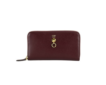 Shop FENDI Sales Wallet: Fendi Zip around Bordeaux leather wallet. Closing with zip on three sides. Frontal gold detail. Big interior with a pocket for coins, two compartments for cash and eight for credit cards. Size: width: 19cm; height: 10cm; depth: 2cm. Made in Italy.. 8M0299SMEZIP AROUND -F0KZU