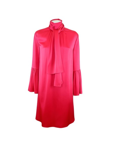 Shop FENDI Sales Dress: Fendi red dress. Composition: 74% acetate 26% viscose. Bell sleeves. Pleated side details. Rear closure with button. Made in  Italy.. FD93765SB-F0L83