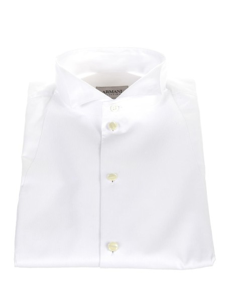 Shop ARMANI COLLEZIONI  Shirt: Armani Collezioni white tuxedo shirt. Diplomatic collar. Mother of pearl buttons. Double cuff for cufflinks. Composition: 100% cotton.. 0CC70D 0BC29-100