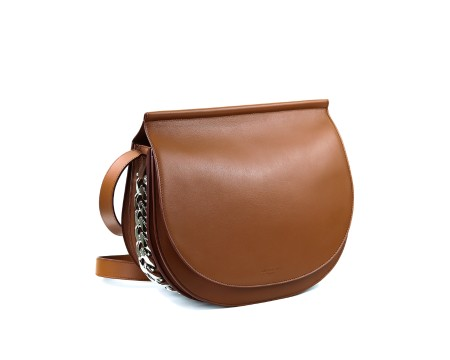 Shop GIVENCHY  Bag: Givenchy Infinity saddle brown leather bag. Closing with button. Adjustable shoulder strap in brown leather. Double compartment. Silver chain detail. Made in Italy.. BB05465781SADDLE-217