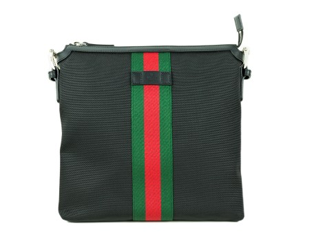 Shop GUCCI  Shoulder Bag: Gucci black fabric bag. Red and Green web detail. Black leather Gucci Trademark. Black leather trims. Black shoulder stap with leather shoulder pad. Black lining inteior with card case and pocket with zip. Size: width: 27; height: 26cm; depth: 5cm. Made in Italy.. 387111KWT7N-1060