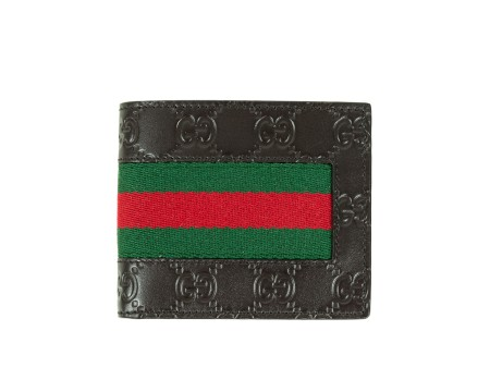 Shop GUCCI  Portafogli: Portafogli Gucci signature marrone. Dettaglio web rossa e verde. Interno in pelle marrone. Due scomparti per banconote e otto fessure per carte di credito e documenti. Misure: larghezza: 11cm; altezza: 9cm. Made in Italy. New collection.. 408827CWCLN-2065