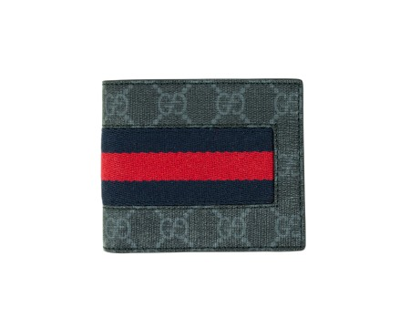 Shop GUCCI  Wallet: Gucci black GG supreme wallet. Red and Blue web detail. Black leather interior. Two compartments for cash and eight for credit cards and documents. Size: width: 11cm; height: 9cm. Made in Italy.. 408827KHN4N-1095