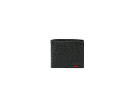 Shop GUCCI  Wallet: Gucci black leather wallet. Gucci trademark with a small red and green web detail. Two compartments for cash and six for credit card and documents. Size: width: 11cm; height: 9cm. Made in Italy.. 428749DJ21T-1060