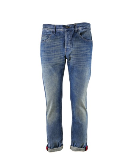 Shop GUCCI  Jeans: Gucci blue stonewashed jeans. Slim on the legs and on the waist. Web detail on the ankle. 100% cotton. Made in Italy. New collection.. 430368XR191-4551