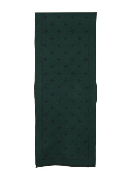 Shop GUCCI  Scarf: Gucci wool scarf with bees and stars in blue and green. Dimensions: Width 33cm Length 175cm. Composition: 100% wool. Made in Italy.. 4305834G200-3068
