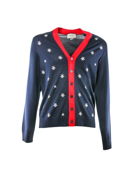 Shop GUCCI  Cardigan: Gucci blue cardigan with white bee and star print. Red outline on the closing with buttons. 100% wool. Made in Italy.. 431747X1311-4696
