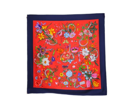 Shop GUCCI  Scarf: Gucci multicolor foulard. Flora snake print with red background. Blue outline. 100% silk. Size: 90 x 90. Made in Italy.. 4527103G001-6468