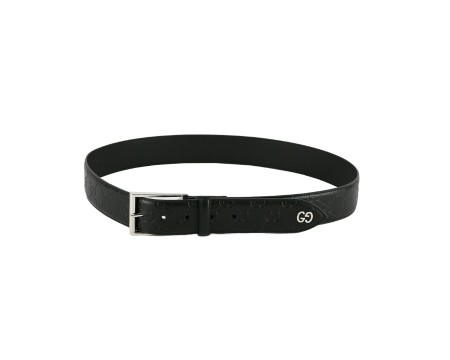 Shop GUCCI  Belt: Gucci signature black belt. GG silver logo application. Rectangular silver buckle. Size: width: 4cm. Made in Italy.. 474311CWC1N-1000