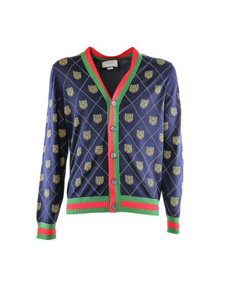 Shop GUCCI  Cardigan: Gucci blu tiger argyle cardigan. Closing with buttons. Red and green web outline. Head of tiger print. 100% wool. Made in Italy.. 474319X1464-4036
