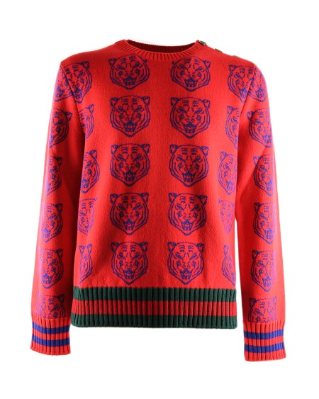 shop GUCCI  Pull: Maglione Gucci paricollo rosso. Motivo testa di tigre blu. Profilo web rosso e verde. Chiusura bottoni sulla spalla. 100% lana. Made in Italy. New collection.. 474712X1469-6526 number 452760
