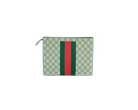 shop GUCCI  Pochette: Gucci pochette in GG beige con web verde/rosso. Made in Italy.. 475316KHN4N-9791 number 5165096
