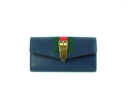 Shop GUCCI  Wallet: Gucci Sylvie blue leather wallet. Red and green web application with golden buckle. Internal pocket with zip for coins. Compartments for credit cards and documents. Made in Italy.. 476084CWLSG-4163