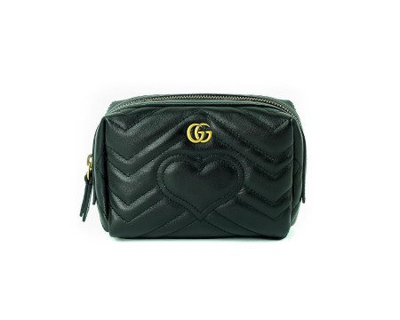 Shop GUCCI  Beauty: Gucci black leather beauty. Closing with zip. GG golden logo application in front. Heart detail in front and GG on the back side. Interior in beige suede. Made in Italy.. 476165DRW2T-1000