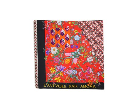 "Shop GUCCI  Scarf: Gucci multicolor foulard. Patchwork print. Writing ""L'aveugle par amour"". 100% silk. Size: 90 x 90. Made in Italy.. 4813043G001-9888"