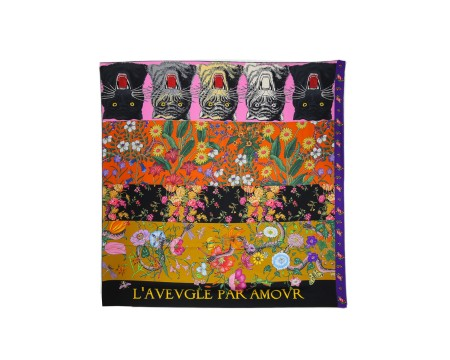 "Shop GUCCI  Scarf: Gucci multicolor foulard. Patchwork print. Writing ""L'aveugle par amour"". 100% silk. Size: 90 x 90. Made in Italy.. 4813053G001-9888"