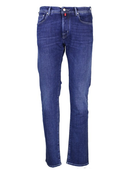 Shop JACOB COHEN  Jeans: Jacob Cohen washed blue denim stretch. Type: J 688 comfort. Closure with logoed buttons. Outer fabric: 99% cotone 1% elastane. Wash max 30' insideout and separately. Don' t remove stains directly. Made in Italy.. J688COMF00703-W2002