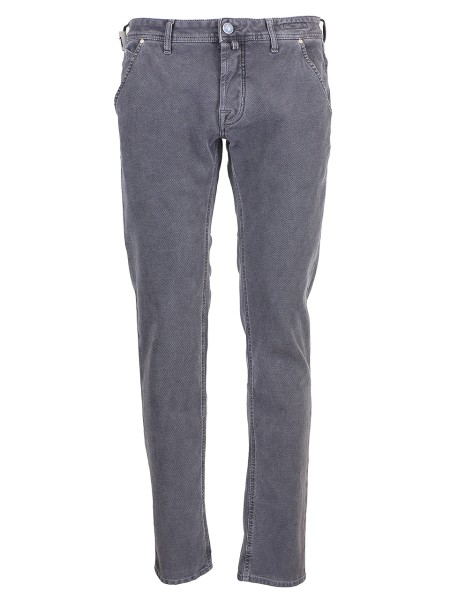 Shop JACOB COHEN Sales Jeans: Jacob Cohen stretch grey cotton trousers. Type: PW 613 comfort. Closure with logoed buttons. Orizzontal pockets. Outer fabric: 99% cotton 1% elastane. Lining: 55% polyestere 45% cotton. Wash max 30' insideout and separatly . Don' t remove stains directly. Made in Italy.. PW613COMF00688-V930