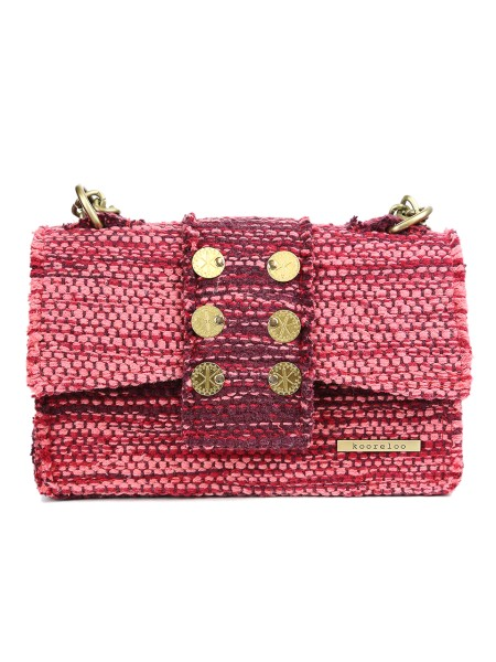 "Shop KOORELOO SACS  Bag: Kooreloo red shoulder bag "" athena "" in wool and cotton. Hand woven. Each handmade kooreloo bag is unique, therefore slight variations might occur. Flap magnet closure. Removable metallic chain strap. Decorative coin applications. Inner pocket. Sizes: width 26 cm height 16 cm depth 9 cm.. ATHENA -R"