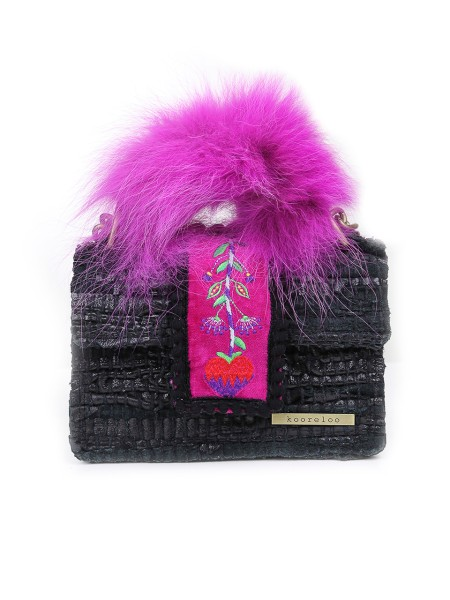 "Shop KOORELOO SACS  Bag: Kooreloo black bag in leather and fabric. Floreal detail on the central part of the bag with fuxia background. Handle in fox fur. ""Kooreloo"" logo on the right bottom. Golden removable shoulder belt that make the bag wearing like a shoulder bag. Black interior with pocket. Size: Width: 19 cm; Height: 12 cm; Depth: 7 cm. Each handmade kooreloo bag is unique, therefore slight variations might occur.. PET LTD -BIC"