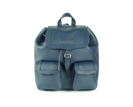"Shop ORCIANI  Backpack: Orciani blue backpack "" soft double "" in hammered leather. Made in Italy.. B02018-B"