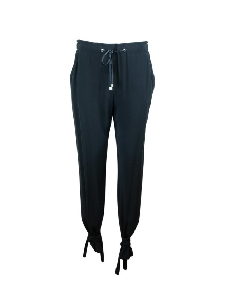 Shop PINKO Sales Trousers: Pinko crepe satin black trousers. Soft chic fit. Ankle laces. Adjustable drawstring in the waist. Outer fabric: Viscose 99% Elastane 1%. Lining: Polyestere 100%.. GLAUCO1B12LA5053-Z99