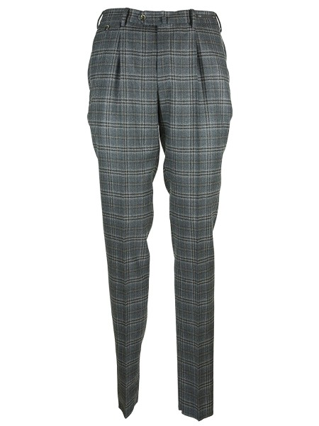 Shop PT01 Sales Trousers: PT01 grey checked pants in wool. pence on the front. Overlapping plaque. Belt loops. Lateral and posterior pockets, the second one with bottoms closure. Zip closure. Wash dry and iron backward. Composition: 100% virgin wool.. C0GF11ZP0CLA RE58-0240