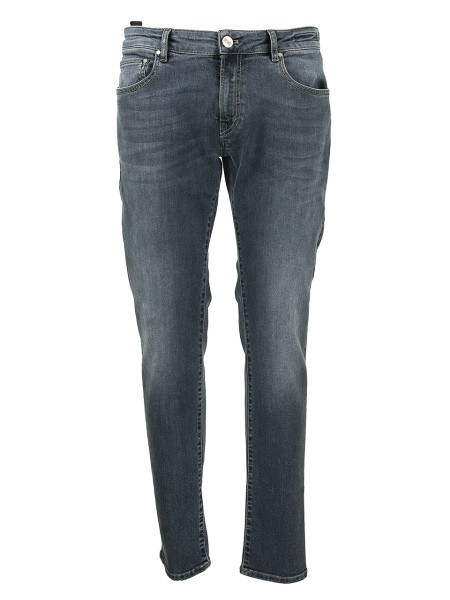 Shop PT05  Jeans: PT 05 grey slim stretch denim. Used wash. Five pockets. Fastener with zip and metal logoed button. Leather logoed patch. Bottom width 18 cm in size 34. Composition: 77% cotton 21% polyester 2% elastane. Washable at 30 ° C. Made in Italy.. C5VJ05Z30IC0CA16-MD44