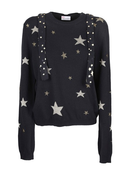 Shop RED VALENTINO Sales Pullover: Red Valentino wool and cashmere black sweater. Long sleeves. Round neck. Embroidered lurex stars. Printed stars scarf. Regular fit. Outside fabric: 37% wool 30% viscose 20% polyamide 8% angora wool 5% cashmere. Made in Italy.. NR3KC0V036T-0NO